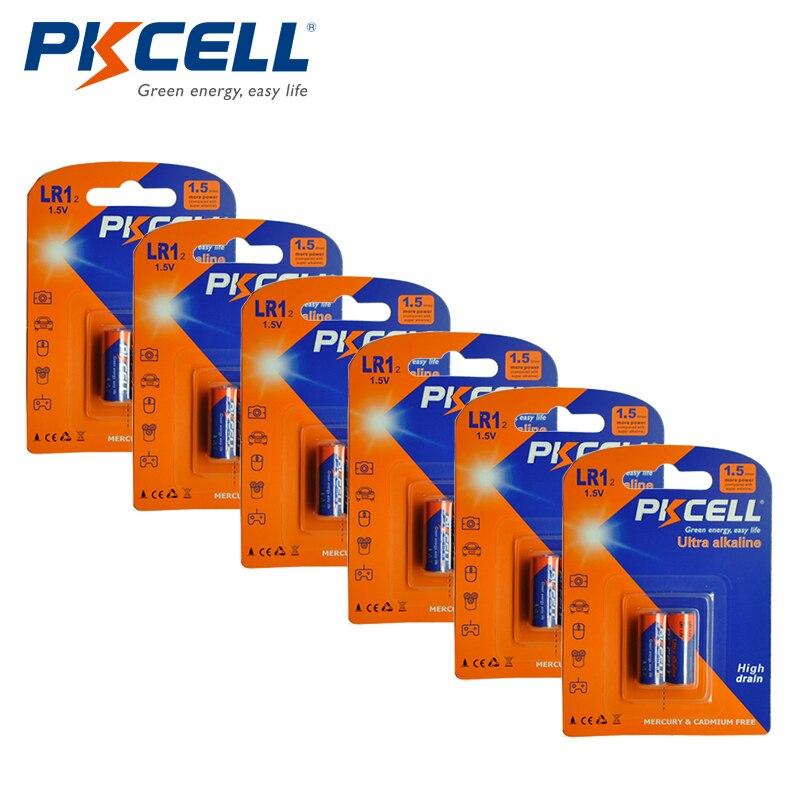Щелочная батарея PKCELL N размера, 12 шт., 1,5 В LR1, E90, MN9100, AM5, UM-5, KN, батарея для bluetooth-гарнитуры