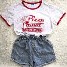 Hillbilly drôle Pizza planète Humor été T shirt rouge bord dames à manches courtes lâche grande taille haut décontracté o-cou Hipster Tumblr
