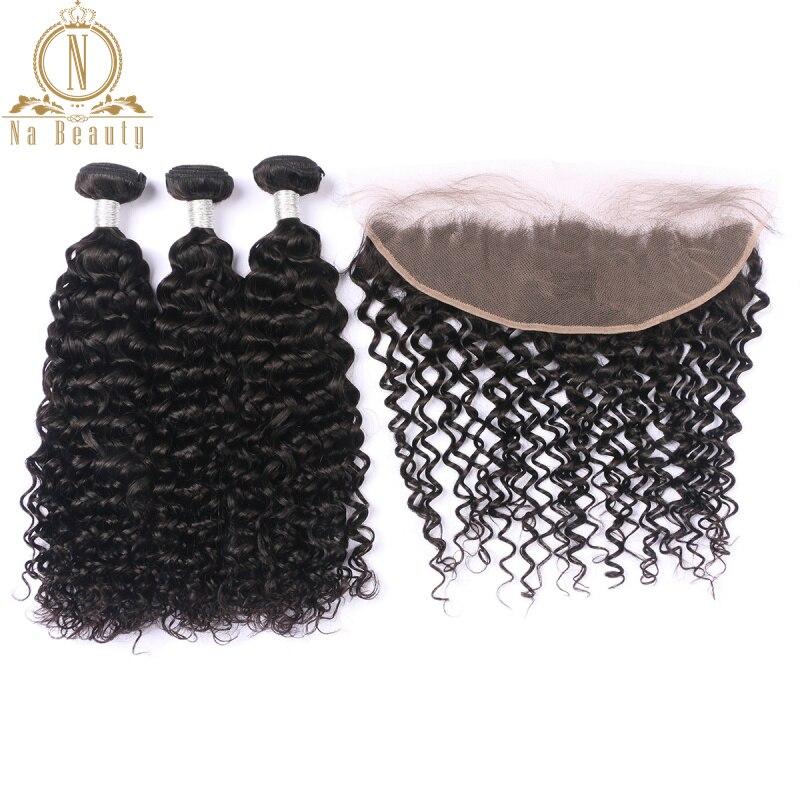 Paquetes de pelo rizado profundo con encaje Frontal brasileño Remy rizos de cabello humano Pre desplumado Frontal con 3 paquetes natural