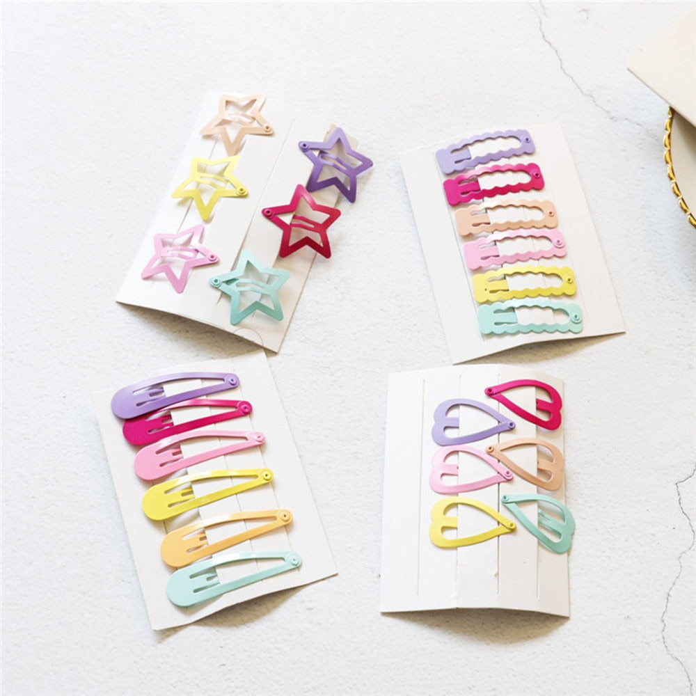 6Pcs/Set Cute Printing Candy Color Cartoon Girls' Hair Girl Hairpin BB Snap Hair Clips Hair Care Sty