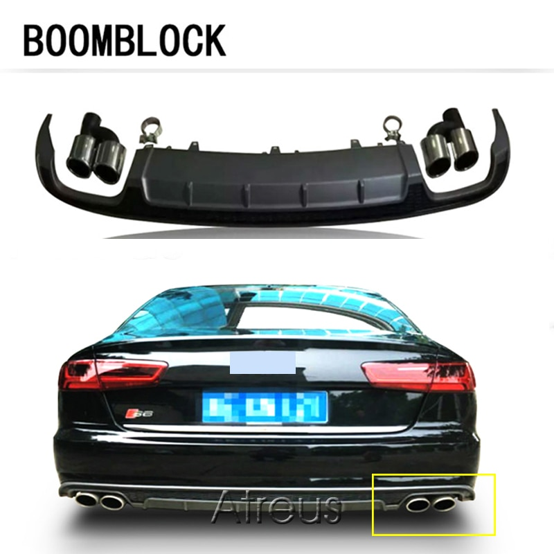 Boomblock para audi a6 sedan base 4 porta 2016 s6 estilo amortecedor traseiro difusor com cauda de escape pp material só se encaixam a6 pára-choques