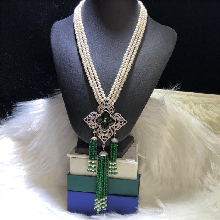 Collar con colgante de borla de Chrysoprase, collar de suéter de múltiples hilos, regalos de joyería, joyería personalizada DIY de moda, joyería de perlas