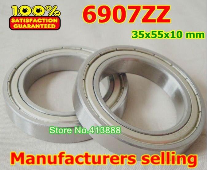 100pcs free shipping thin wall deep groove ball bearing 6907ZZ 35*55*10  mm