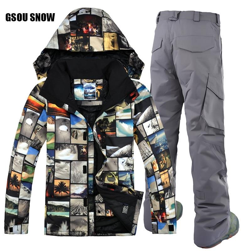 Free Shipping GSOU SNOW Brand Ski Suit Men Ski Jacket Pants Winter Mountain Skiing Suit Waterproof Snowboard Sets Male