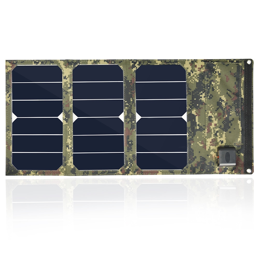 Portátil colores de camuflaje 20W plegable cargador de panel solar plegable impermeable Banco de la energía móvil batería Dual USB 5V 2A