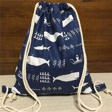 YILE coton lin cordon voyage sac à dos livre sac chaussures triées sac baleine bleu 1217-3
