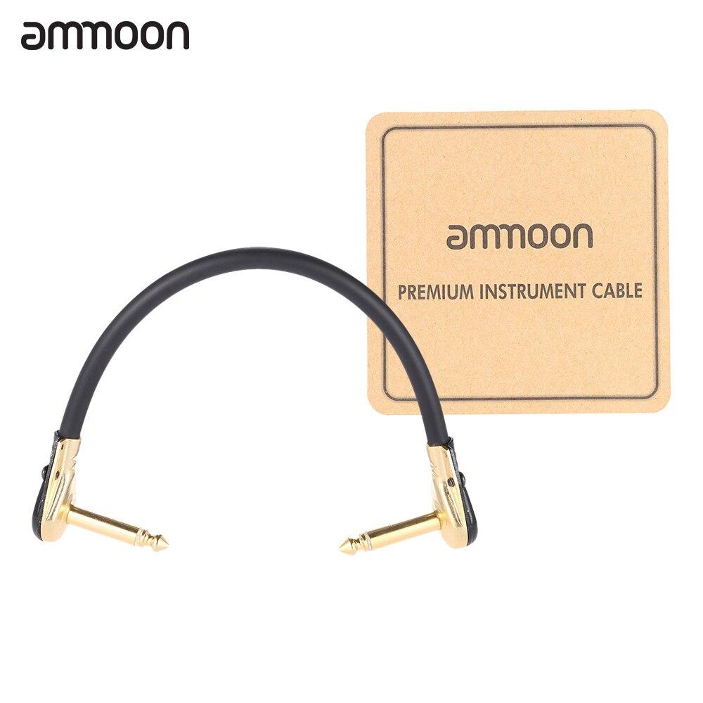 Ammoon AC-20 15 cm/0,5 pies de alta calidad guitarra parche Cable de Cable con 1/4 pulgadas 6,35mm de oro conector de ángulo recto de PVC