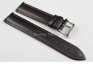 19mm (Buckle18mm) T049410A T049407 High Quality Silver Buckle + Black Genuine Leather Red line Watch Bands Strap Free shipping