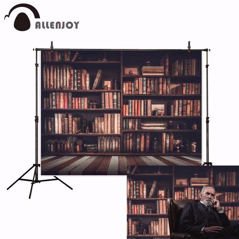 Allenjoy bibliothèque arrière-plan photographie vintage conseil bébé bibliothèque école toile de fond photocall photophone photobooth accessoires photo