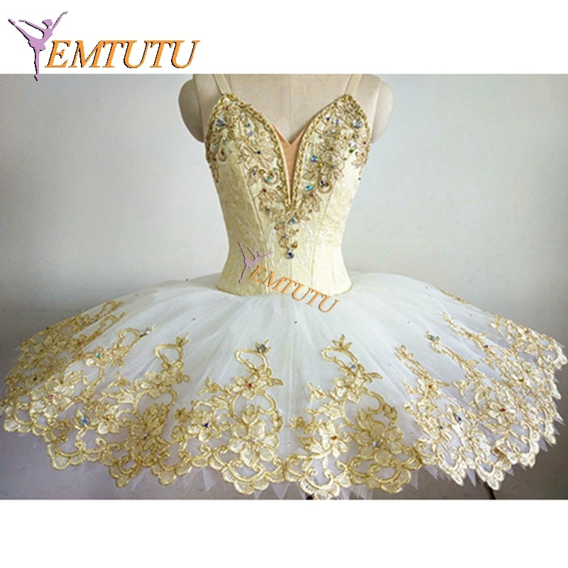 White Gold Professional Ballet Tutu Sleeping Beauty Performance Pancake tutus Classical Ballet Tutu Skirt Ballet Stage Costume