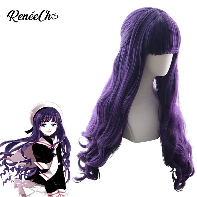 Reneecho Sakura Cardcaptor Tomoyo Daidouji peluca larga púrpura ondulada peluca Card Captor Sakura Peluca de anime Cosplay accesorios 80cm