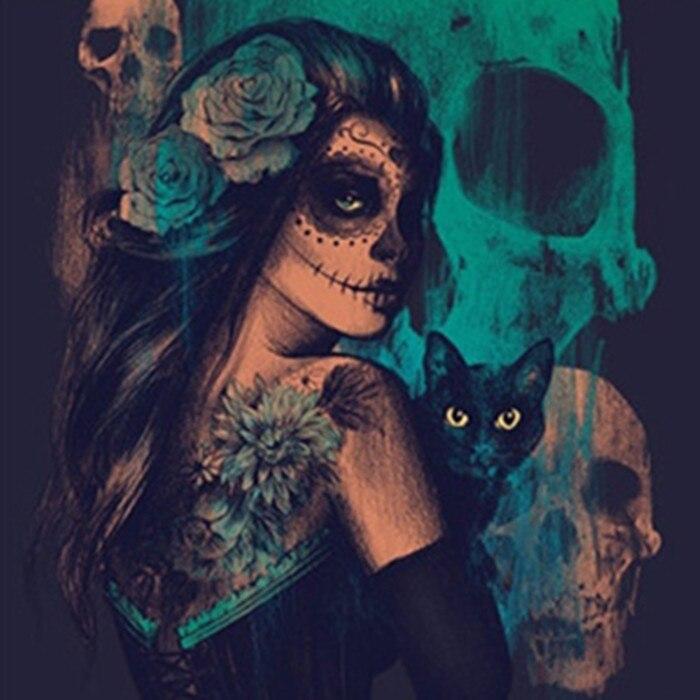 3D Diy Алмазная картина череп кошка Женщина вышивка крестиком ужас Хэллоуин рукоделие домашний декоративный полный квадратный алмаз вышивка