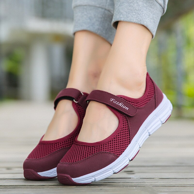 Tênis feminino com cadarço respirável, calçado feminino casual de malha para moças, verão 2020