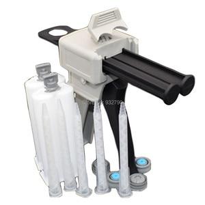 Epoxy Adhesive Gun 1:1 Mix Cartridges Manual Dual Component Adhesive Applicator + 2pcs 50ml Mix Cartridges + 5pcs Epoxy Nozzles