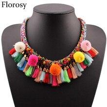 Florosy declaração chunky borla pingente colar para as mulheres colorido corda trançada corrente bola de algodão acrílico grânulo colar de jóias