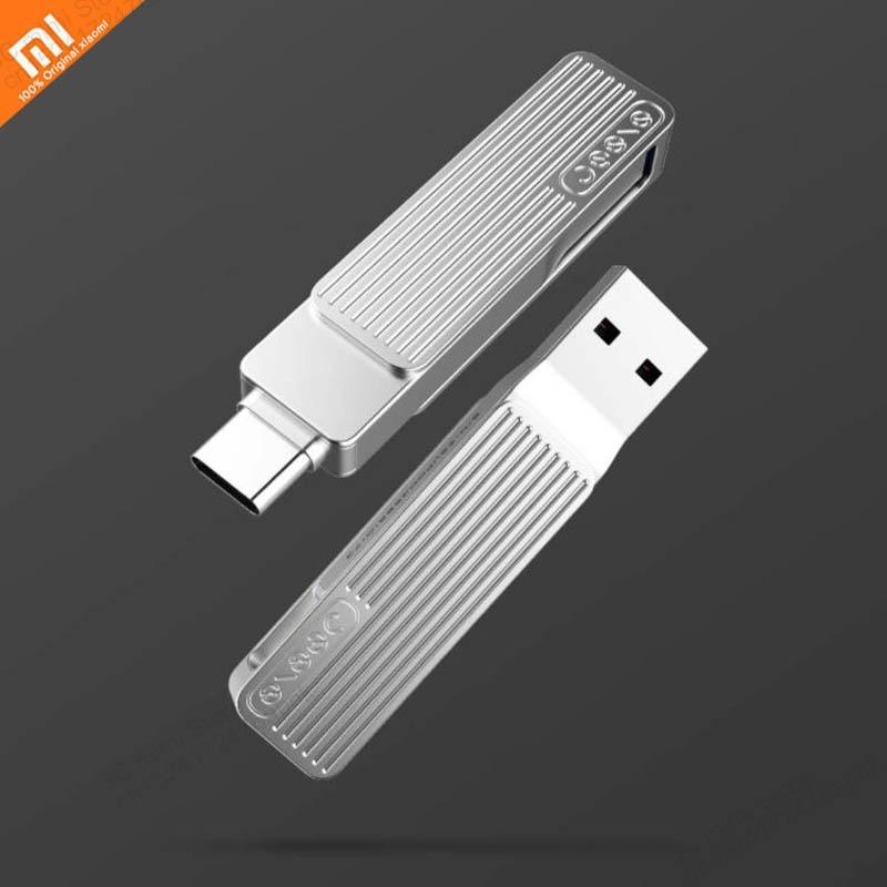 Original xiaomi mijia tipo-c usb interface dupla do telefone móvel u disco 120 mb/sm1 360 rotação material da liga de alumínio app inteligente