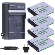 Tectra 4Pcs NP-40 NP40 NP 40 Battery+ Digital Charger for Casio EX-FC100 FC150 FC160S Z400 PRO P505 P600 P700 ZOOM Z100 Z1000