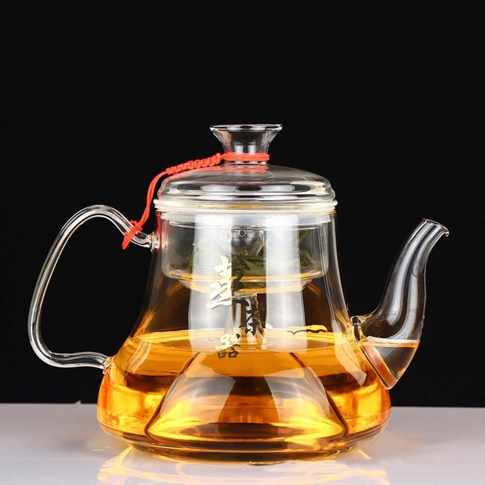 Tetera de vidrio transparente, té con calefacción de fuego abierto, vapor, resistente al calor, gran capacidad, resistente al calor, leche, juego de té y tetera