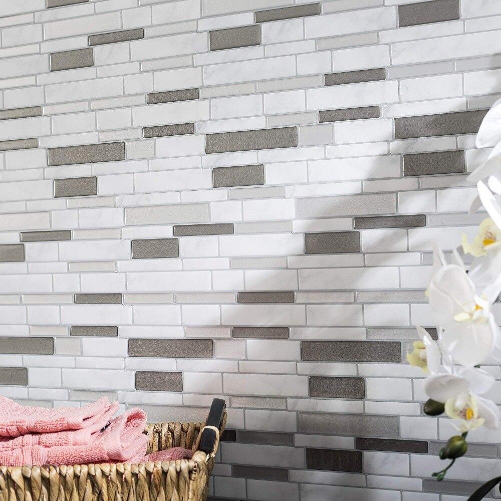 Weiß Grau Marmor Mosaik Shell und Stick Selbstklebende Wand Fliesen Backsplash DIY Küche Bad Home Wand Aufkleber Vinyl 3D