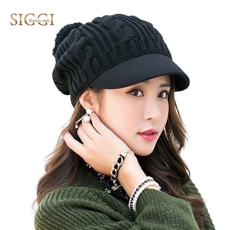 FANCET Women Winter Warm Skullies Beanies Solid Knitted Pompom Hat Brim Fleece Sequin Bonnet Gorros For Women 2019 Cap hat 89230
