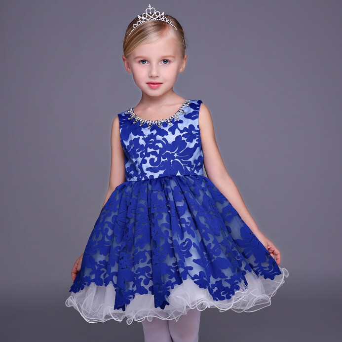 2018 new children s costumes sixty one high end custom flower girl dresses 2 14year gift children s performing princess dress Brand New Flower Girl Dresses Blue Short Party Pageant Communion Dress Little Girl Kids/Children Princess Dress for Wedding