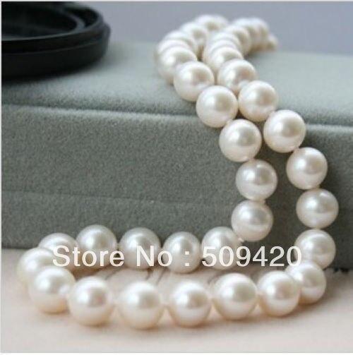 """Envío Gratis Charmming! 9-10mm blanco Akoya cultivado collar de perlas 18"""""""
