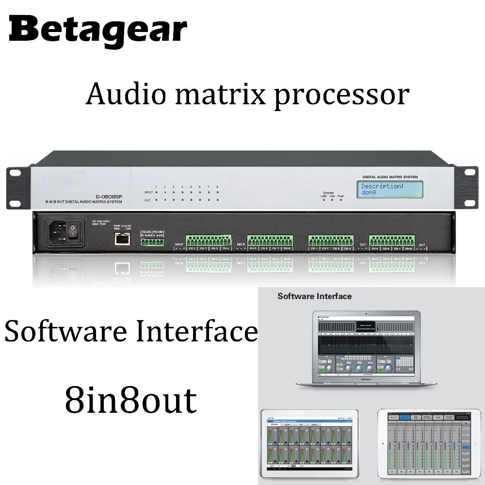 Betagear 8 الإدخال/8 الناتج مصفوفة الصوت الرقمية المعالج DSP الصوت الرقمي المعالج-الصوت/الصوت مصفوفة رقمية المعالج
