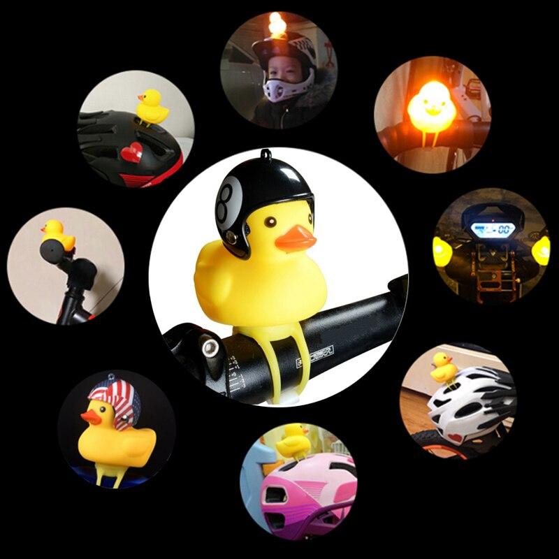 Mtb bicicleta de estrada moto equitação luz ciclismo pequeno pato amarelo capacete criança chifre acessórios da bicicleta bonito chifre lâmpada sino pato