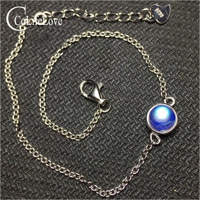 Blue brilliance moonstone bracelet for woman 6 mm natural moonstone silver bracelet 925 silver moonstone jewelry romantic gift