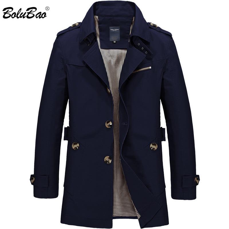 BOLUBAO جديد الرجال الأزياء سترة معطف الربيع العلامة التجارية الرجال عارضة صالح البرية معطف سترة بلون خندق معطف الذكور