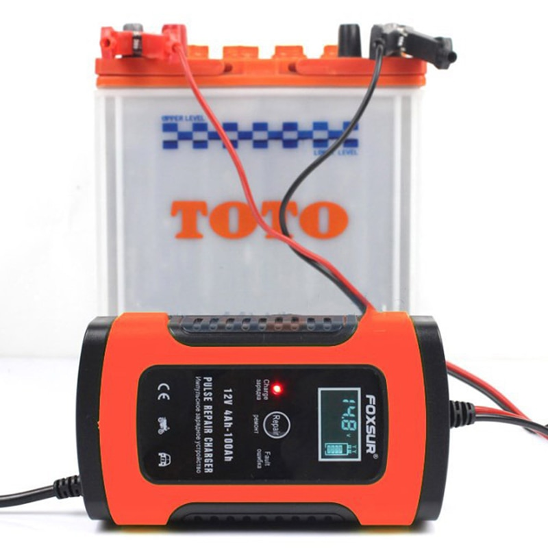 Novo 12 v 20ah 60ah 100ah carregador de bateria acidificada ao chumbo ups motocicleta & carregador de bateria de carro carregador de reparação de pulso com display lcd