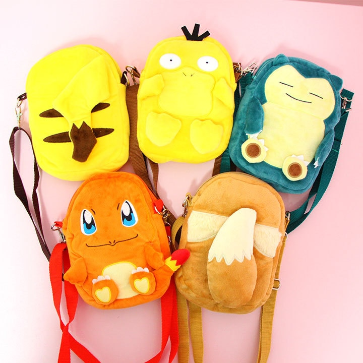 Anime Pikachu Psyduck Charmander Eevee Purse Shoulder Bag Plush Casual Zipper Cross body Tote School Book Students Bag