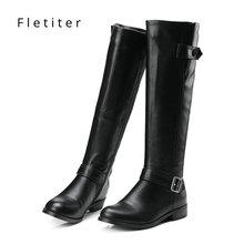 Véritable cuir genou haute bottes dhiver femmes talons bas mode femmes bottes grande taille noir femmes chaussures chaussures plates marque fletiter