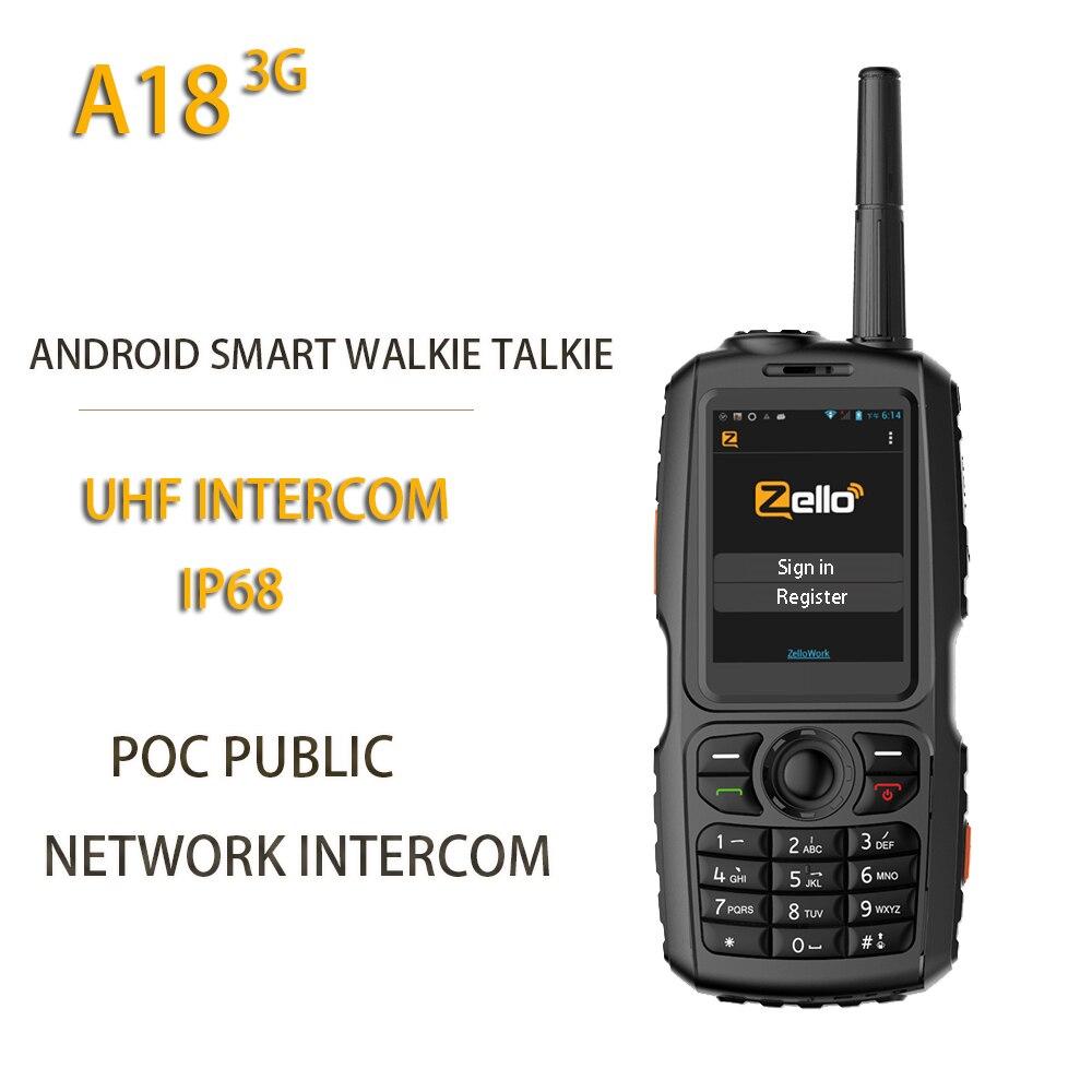 Novo a18 3g rádio uhf interfone ip68 wcdma/gsm android4.2.2 com real-ptt ou zello a17 atualizar poc público netowrk interfone