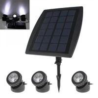bsv sl318 3 x 6 white light leds waterproof adjustable solar powered garden lamp 1 x solar panel