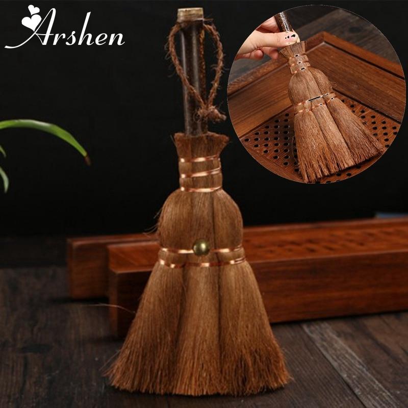 Arshen, cepillo de fibra de plantas marrones para té, cerdas de Kung Fu, juegos de té, juegos de té, cepillo de limpieza, utensilios de cocina para el hogar, accesorios para el té