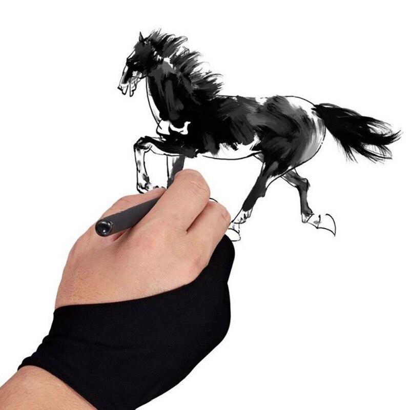 Перчатки для рисования художника для любого графического планшета черный 2 пальца против загрязнения, как для правой, так и для левой руки черный свободный размер