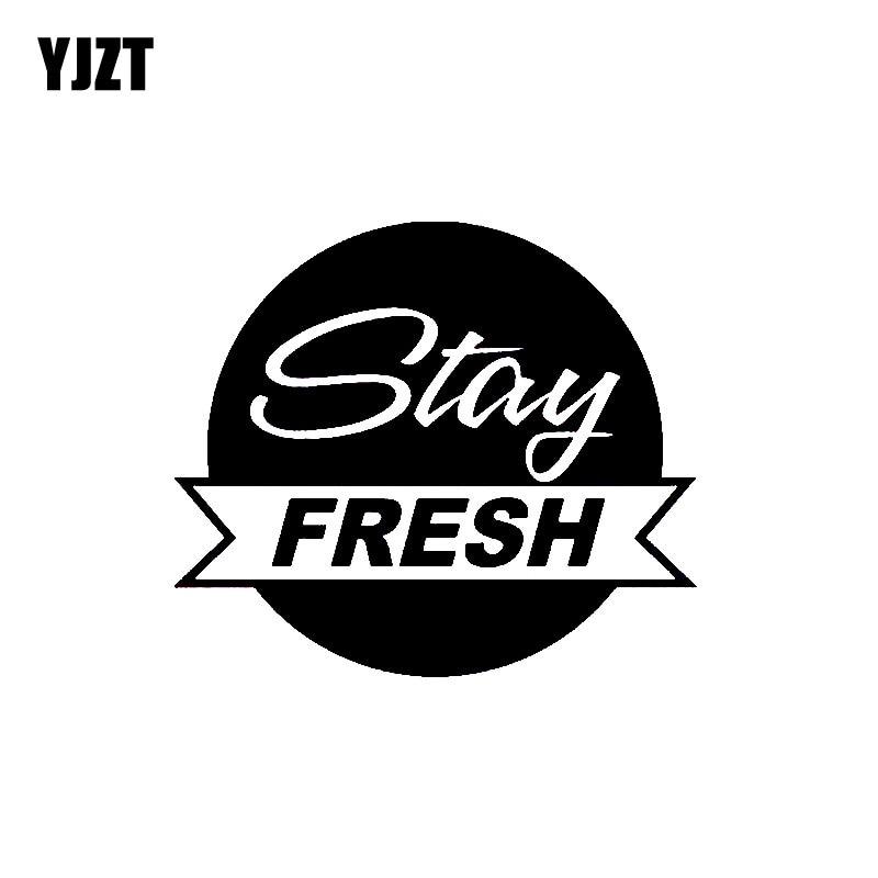 YJZT 13CM*11.4CM Fashion STAY FRESH Vinyl Decal Car Sticker Black/Silver Graphical Accessories C11-0