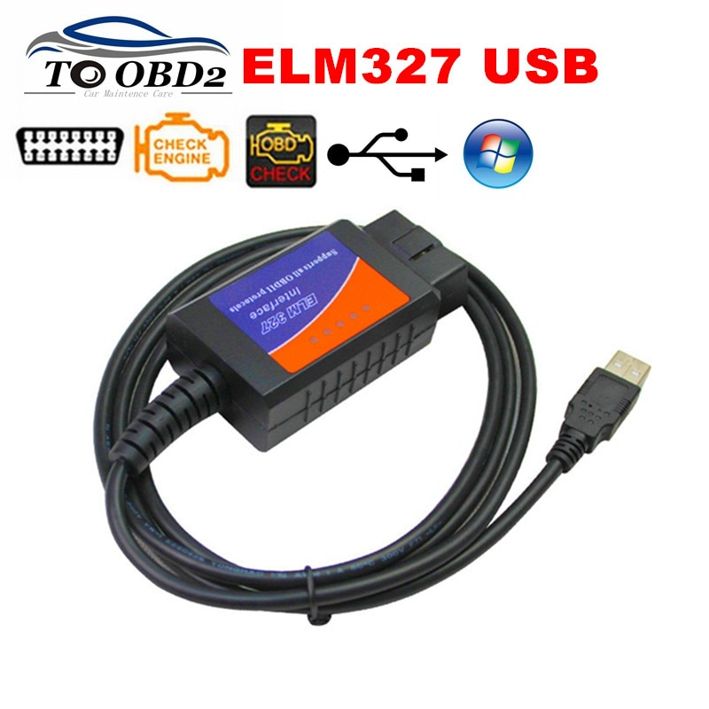 New OBD2 Diagnostic Tool ELM327 USB V1.5 Plastic Auto Cable Interface OBDII CAN-BUS Code Reader ELM 327 1.5 PC Connection