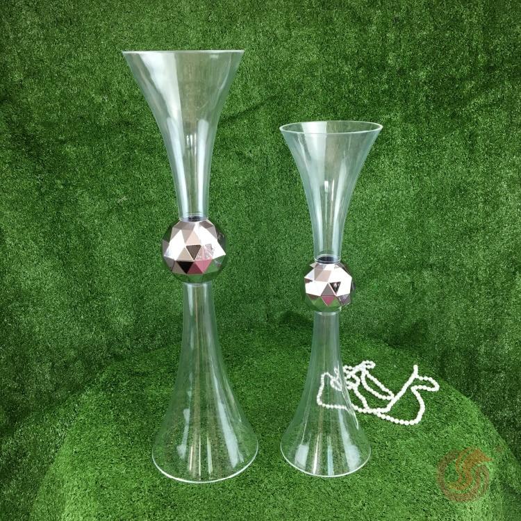 Jarrón de mesa de boda, aparatos de flores de boda, arreglo de flores falsas, aparatos de plantas de plástico, accesorios de boda, pista de acrílico
