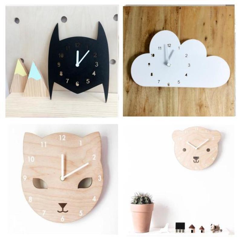 Reloj de decoración infantil y Chico s estilo nórdico Batman, gato, oso colgando de la pared juguetes de madera modelo de habitación de bebé chico Furnish Artic decoración del hogar