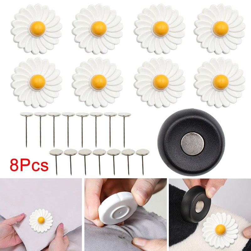 8 pçs botão capa colcha sapatos bonito folha de cama fixa antiderrapante segurança flores magnéticas fivela anti-movimento folha grampos melhor preço