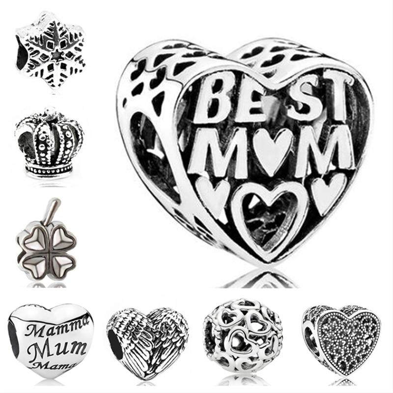 Btuamb Макси небольшой эффектный полый любовь Сердце ключ медведь Цветочные бусины-кристаллы Подходит Пандора очаровательные браслеты для же...