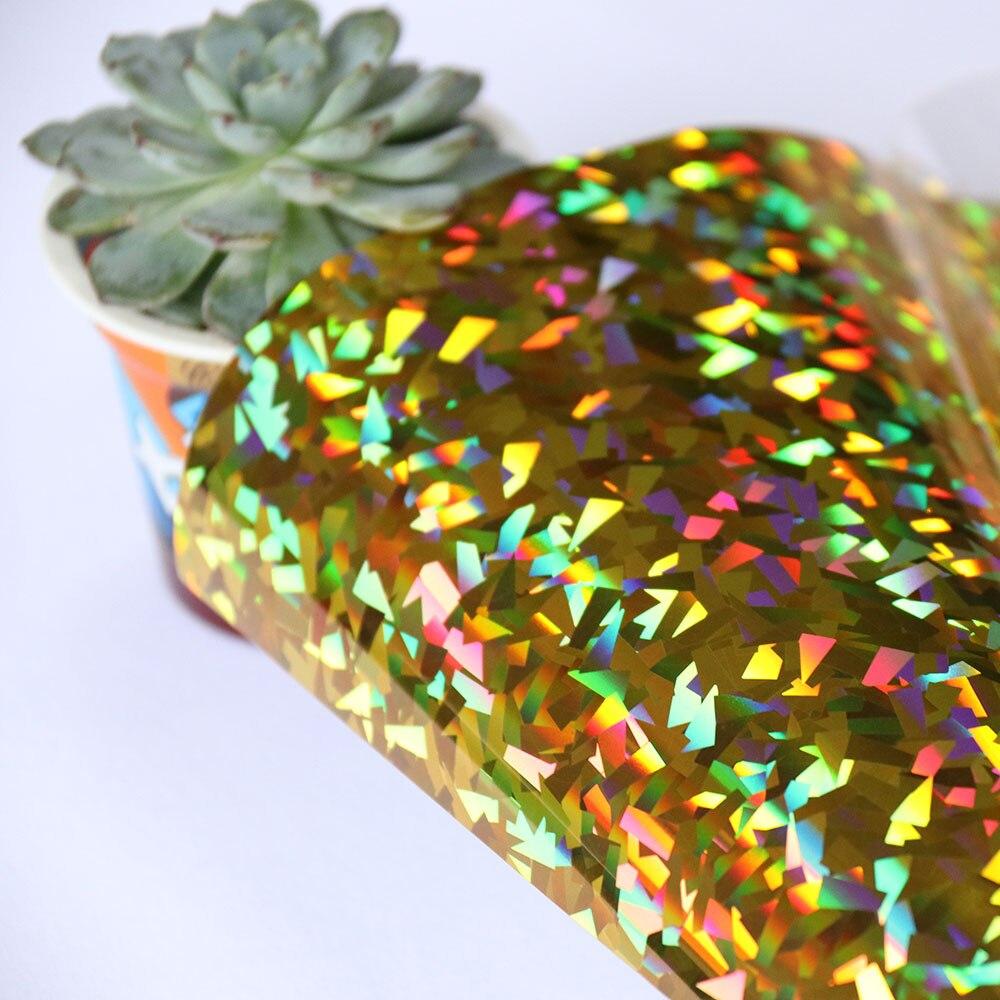 HOHOFILM 50cm x 60cm cristal oro prensa de calor holográfica Pu Transferencia de Calor vinilo hierro en vinilo prensa de calor camiseta sombrero DIY