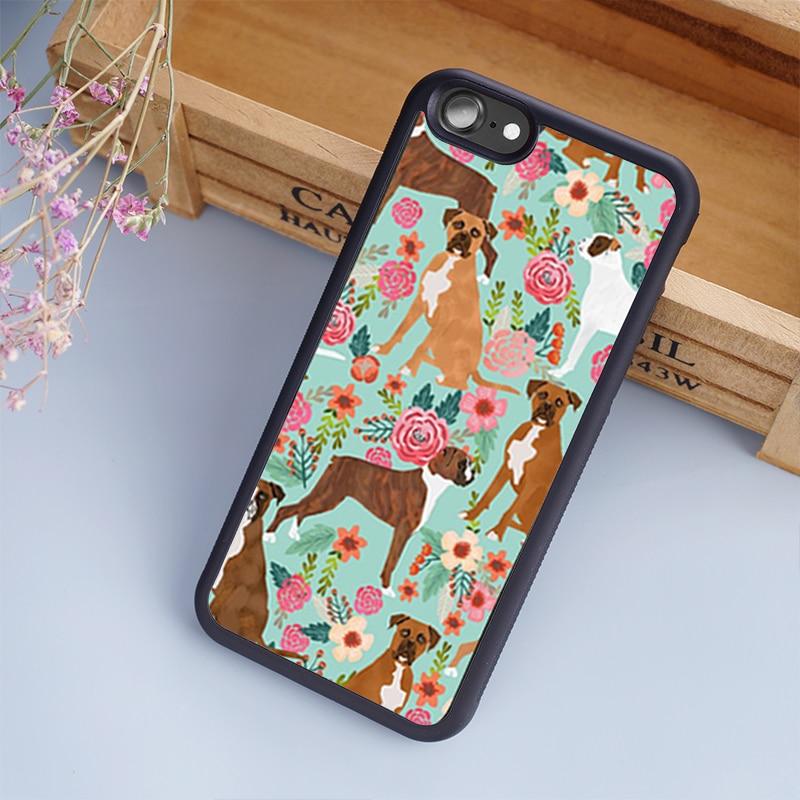 MaiYaCa boxer perro vintage florales de la cubierta de la caja del teléfono para iPhone 5 5 s 6 s 7 8 plus 11 pro X XR XS max Samsung S6 S7 S8 S9 S10