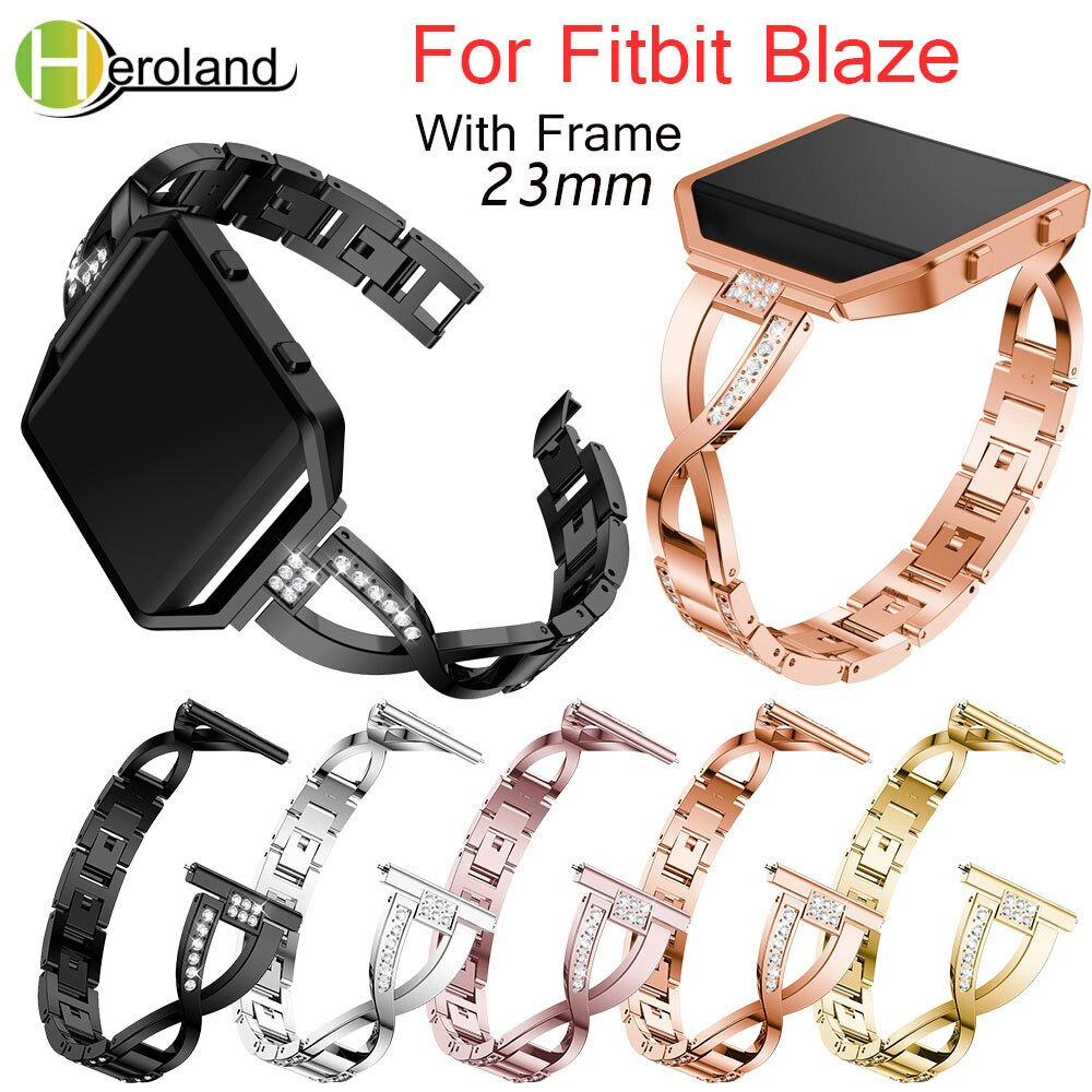 23mm Stainless Steel WatchBand For Fitbit Blaze smart replacement watch band Wrist Strap For Fitbit Blaze bracelet + Case Cover men and women sport casual edition soft silicon rubber sports watch band wrist strap for fitbit blaze with metal buckle frame