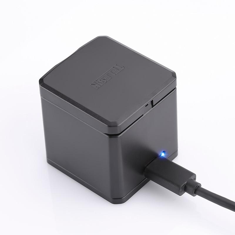 Зарядное устройство TELESIN для Gopro Hero 6 5, 3-стороннее зарядное устройство с usb-кабелем Type-C, зарядная док-станция, хаб Аккумуляторный футляр для х...