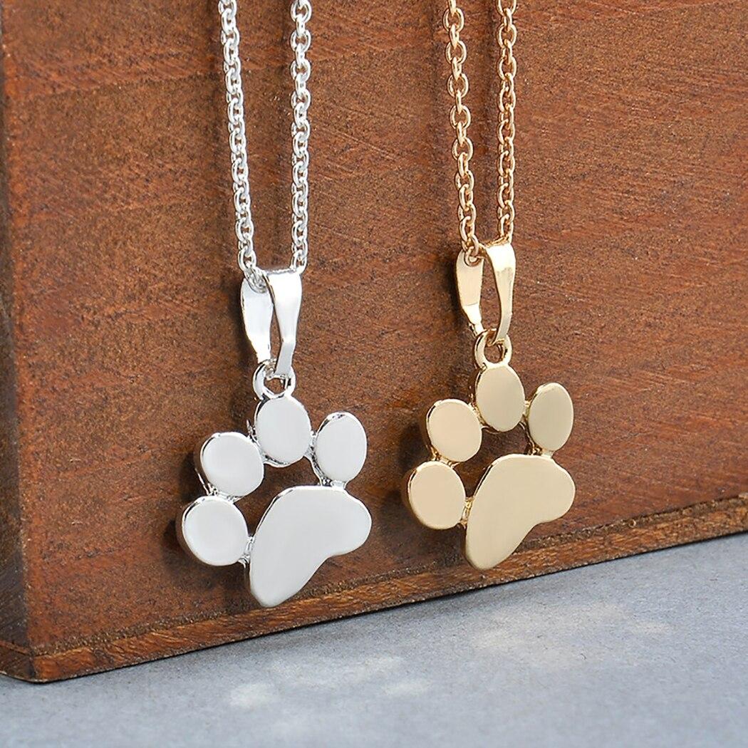 Collar de pata de gato de Perro dorado de plata para mujer, accesorios de joyería, Gargantilla con pata de Animal para mascota, colgante con huellas de regalo para niñas