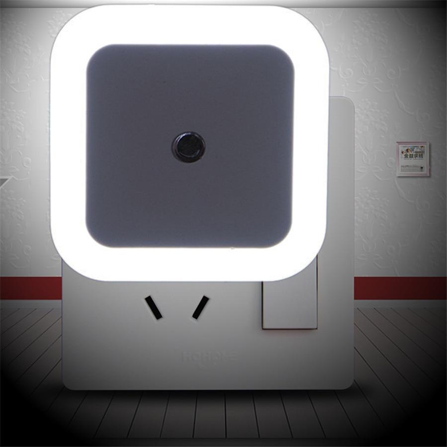 Sensor de luz Thrisdar, lámpara de luz nocturna LED con enchufe europeo/estadounidense, lámpara para pared con enchufe, dormitorio de 0,5 W junto a la luz del cuarto de bebé