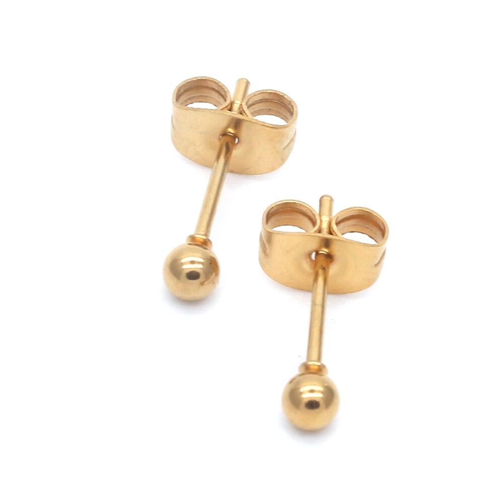 Ag05 titanio dorado-collar bolas pequeñas 2mm a 8mm pendientes de tuerca 316l Acero inoxidable pendiente IP chapado No se decolora hipoalergénico
